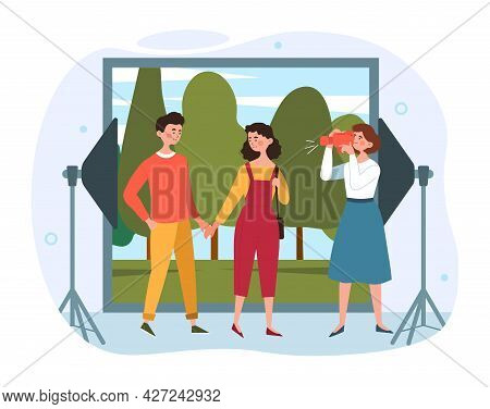 Photo Studio Concept. Photographer Shoots A Man And Woman Against The Background Of Nature. Professi
