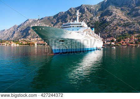 Cruise Ship  . Decks With Cabins . White Cruise Liner