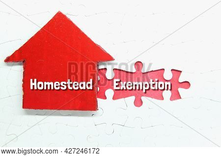 Red Box House, Puzzle With The Word Homestead Exemption