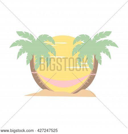 Holiday On The Beach. Hammock Between Palm Trees. Cartoon Illustration In Vector Illustration