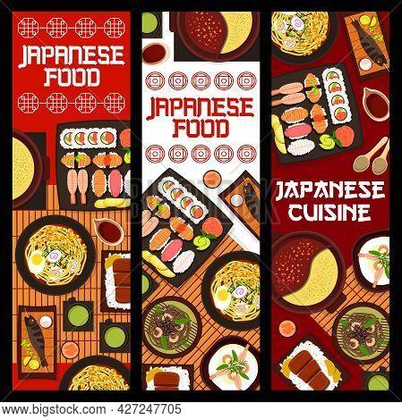 Japanese Cuisine Vector Shrimp Soba Noodles, Shabu Shabu Hot Pot And Matcha Tea. Noodle Soup With Eg