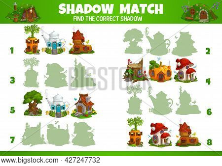 Kids Game Of Vector Fairytale Houses And Dwellings Shadow Matching. Education Game, Memory Puzzle, L