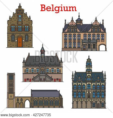 Belgium Travel Landmarks And Architecture, Vector Belgian City Sightseeing Buildings. Butcher Hall O