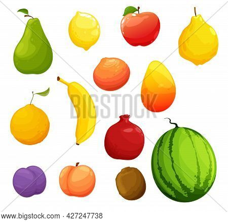 Cartoon Ripe Fruits, Organic Farm Fresh Harvest. Vector Raw Pear, Lemon And Apple, Ripe Quince, Oran