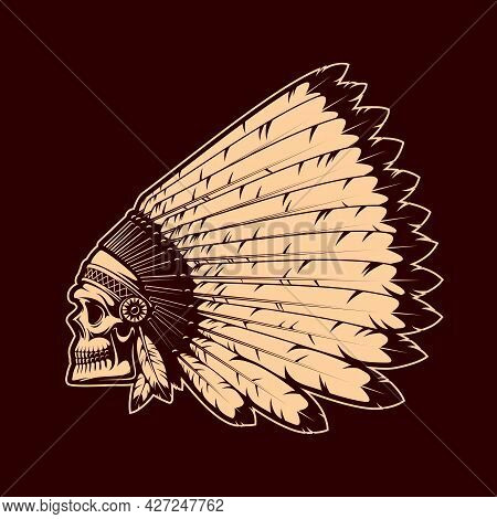 Indian Chief Skull In War Bonnet. Native Americans Culture And Wild West Colonization History Vector