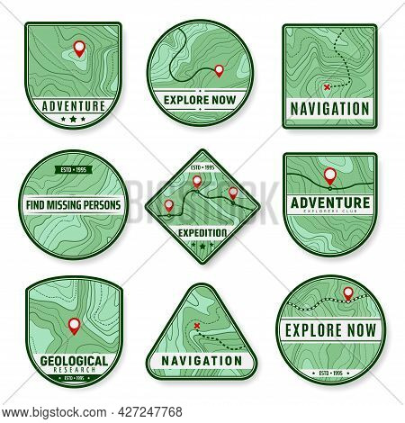 Topographic Icons. Expedition, Area Exploration And Geological Research Vector Icons. Navigation Pin