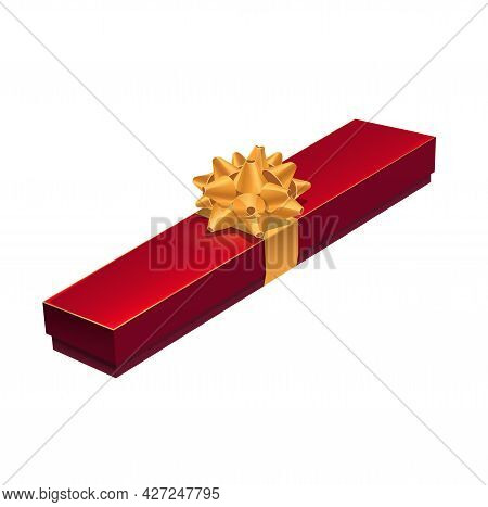 Jewelry Gift Box, Red Case Present With Golden Bow Tie, Vector. Gift Box For Jewelry Necklace Or Red