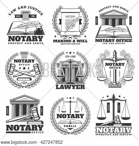Notary Office, Lawyer And Law Firm Icons, Monochrome Vector Emblems. Law Book, Quill Feather And Lau