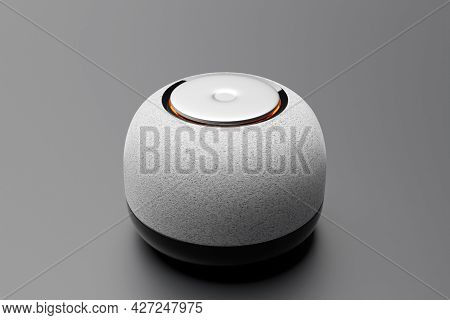 3d Illustration Of A Round Portable Music Speaker With Illumination On A Light Background.