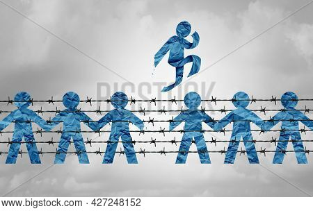 Immigration And Freedom And Migration Escape Laws Or Free Refugees Escaping From Barbed Wire With Pa