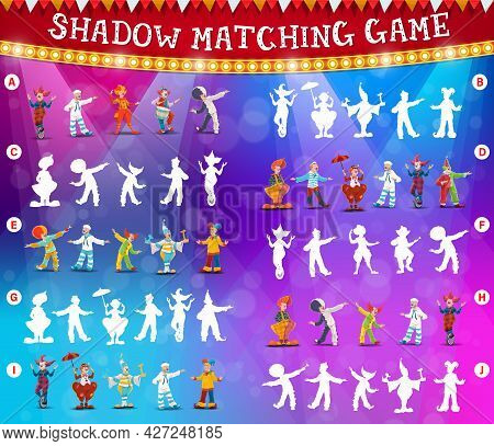 Circus Clowns Shadow Matching Vector Game Or Puzzle. Kids Education Memory Game, Riddle, Maze Or Att