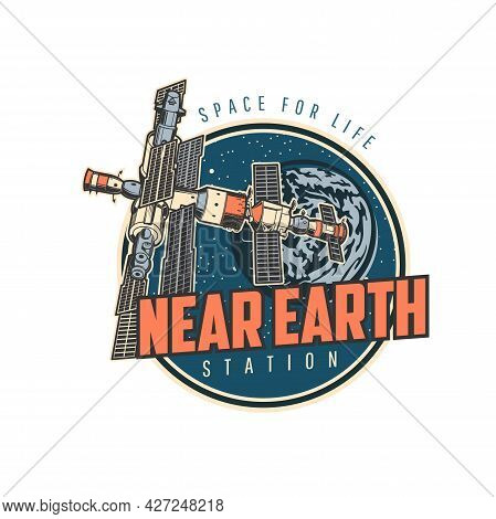 Orbital Station Icon, Spaceship Shuttle In Space, Spaceman Travel And Discovery, Vector Emblem. Rock