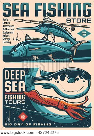 Sea Fishing Tackles Store, Ocean Fishing Travel Tours Sketch Vector Banners. Tuna And Fugu Fishes, M