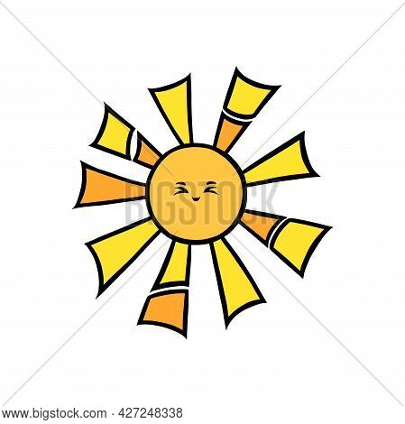 Cute Sun With Eyes And Smile. Yellow Sun Smiling Face In Doodle Style. Black And White Vector Illust