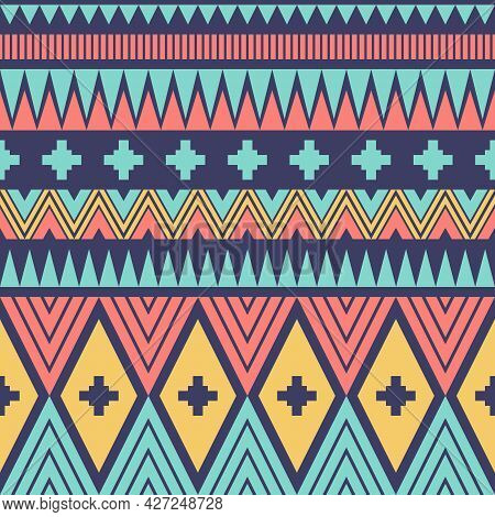 Geometric Ethnic Oriental Ikat Or Tribal Ethnic Seamless Pattern. Fabric Design For Tribal Embroider