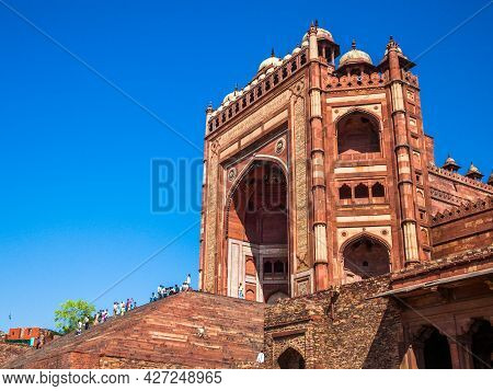Fatehpur Sikri, Uttar Pradesh, India - March 26, 2011: Main Gate To Unesco World Heritage Site Fateh