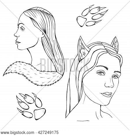 Wolf Girl Sketch, Woman With Tail And Wolf Ears, Wolverine Illustration, Paw With Claws, Mystic Anim