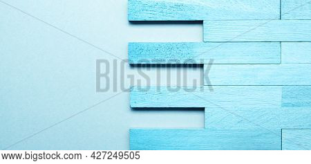 Solid Wood Parquet In Blueas Wood Texture On Blue Background With Space For Text Or Images, Woodwork