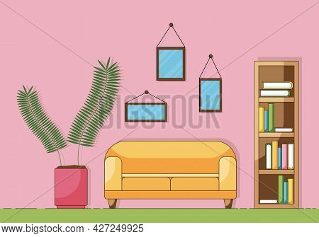 Cartoon Concept Of The Part Of A Cozy Living Room With Sofa, Plant, And Books Isolated On A Pink Bac