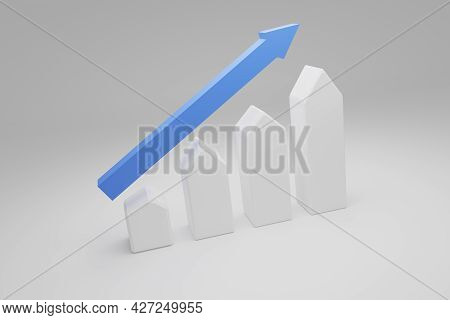 Puristic House Shapes With An Upswing Arrow. Housing Boom, Property Market Growing, High Demand For