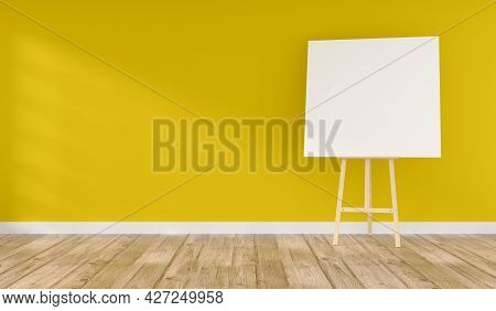 Wooden Easel With A Blank Canvas In A Yellow Room With Space For Text On The Wall, 3d Rendering
