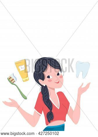 Oral Hygiene Poster. Vector Design Concept With Young Girl, Toothpaste And Brush Isolated On White B