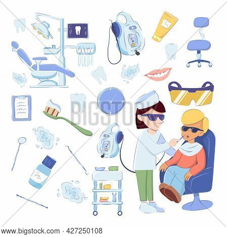 Dental Medical Set Of Design Elements Isolated On White Background. Vector Image Of A Doctor Treatin