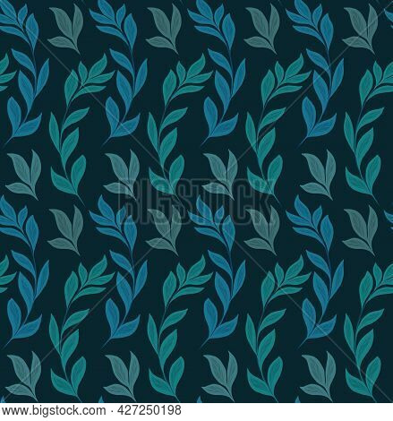 Seamless Natural Pattern With Basil Branches On Dark Green Background. Texture With Hand Drawn Flat