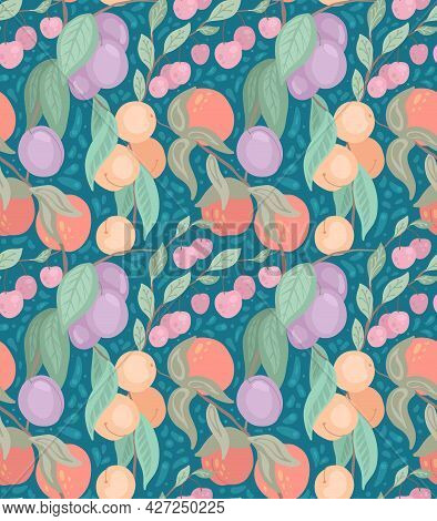 Seamless Flat Delicate Texture With Cherries, Peaches, Plums On Branches With Foliage On Blue Backgr