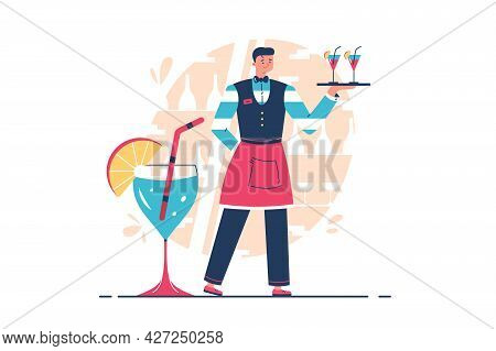 Professional Waiter Holding Tray With Drinks Vector Illustration. Server Guy Carry Order Flat Style.