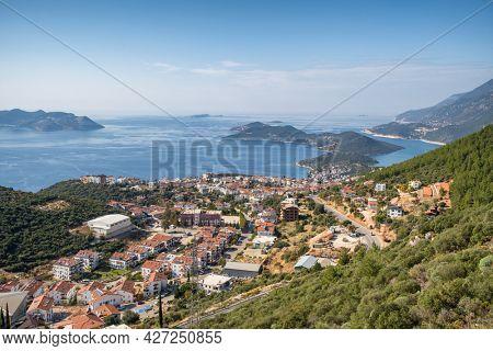 Beautiful view at mediterranean resort town Kas and Greek island Kastellorizo, Antalya province, Turkey.