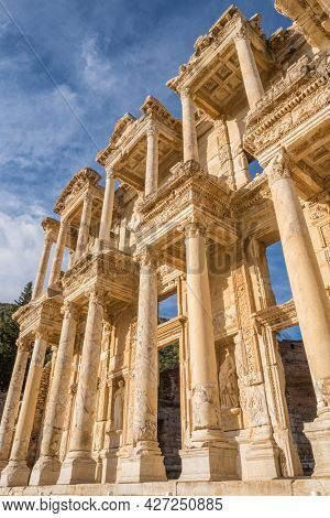 Celsus Library in ancient city Ephesus at sunset near Selcuk, Turkey.