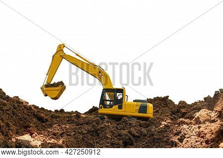 Excavator Loader Is Digging In The Construction Site Work With Bucket Lift Up On White Background
