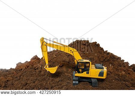 Excavator Loader Is Digging In The Construction Site Work With Bucket Lift Up Isolated On White Back