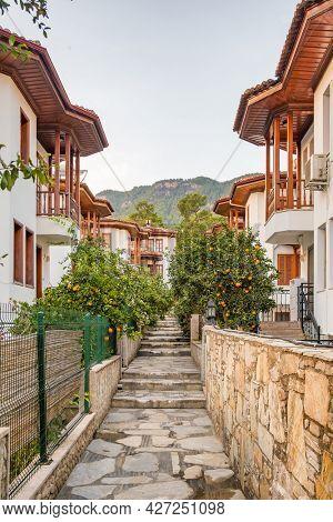 Architecture of the Akyaka slow city in Turkey. Beautiful traditional turkish houses in Akyaka town, Mugla province, Turkey
