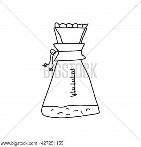 Hand Drawn Doodle Vector Illustration Of Pour-over Vessel Coffee Dripper. Isolated On White Backgrou