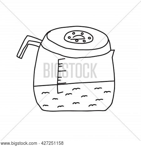 Hand Drawn Doodle Vector Illustration Of Traditional Coffee Pot For Brewing Hot Coffee. Isolated On