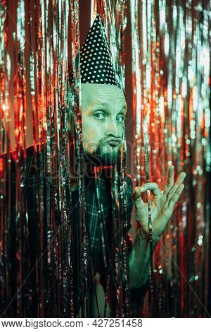 Best Birthday. Funny Man. Holiday Joy. Enjoying Celebration. Ridiculous Guy Wearing Festive Hat Show