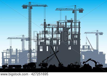 Construction Site Banner Silhouette Landscape. Truck Car, Workers, Concrete Piles, Tower Crane. Unde
