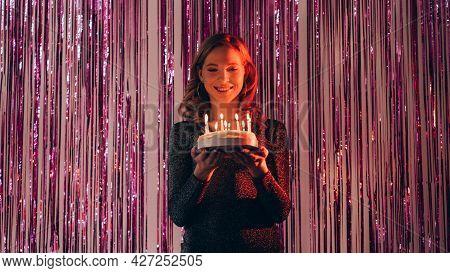 Birthday Cake. Happy Woman. Holiday Celebration. Pretty Smiling Lady Elegant Dress Holding Festive P