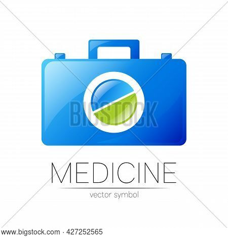 First Aid Logo Vector Medicine Symbol With Help Bag Case And Pill For Health Care Icon For Hospital