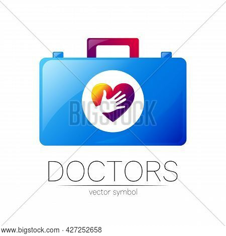 First Aid Logo Vector Medicine Symbol With Help Bag Case And Heart For Health Care Icon For Hospital