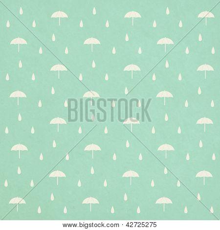 Seamless Raindrops Pattern With Umbrella