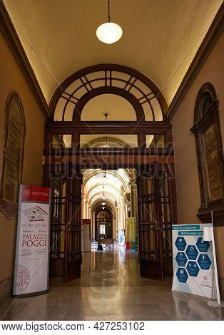 Bologna - Italy - July 3, 2021: Main Entrance Of Università Degli Studi Di Bologna, University Area.