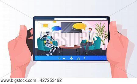 Businessman Discussing With Robot During Meeting Partnership Chat Bubble Communication Artificial In