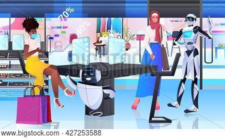 Robots Showing Items In Fashion Boutique Artificial Intelligence Technology Concept Horizontal