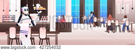 Robot Waiter Serving Food To Visitors In Restaurant Artificial Intelligence Technology Concept Moder