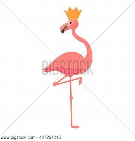 Queen Flamingo Icon Cartoon Vector. Tropical Bird. Cute Pink Flamingo