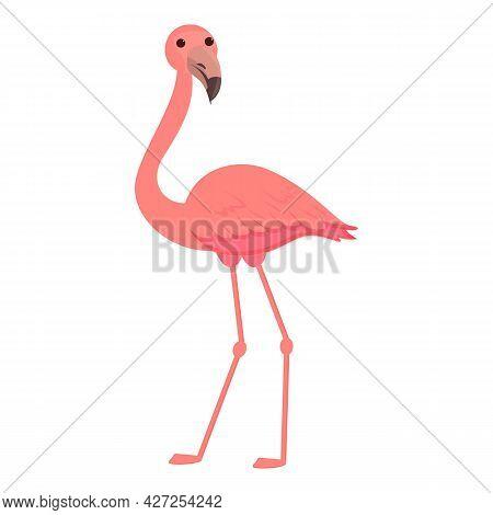 Tropical Flamingo Icon Cartoon Vector. Pink Cute Bird. Summer Flamingo