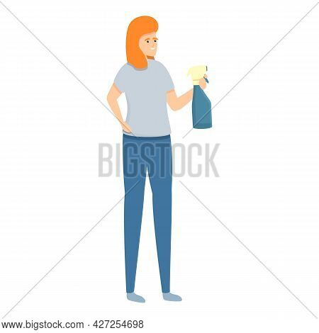 Mirror Cleaning Icon Cartoon Vector. Home Housewife. Woman Housework